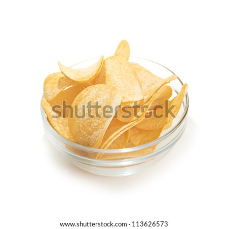 Delicious potato chips in bowl isoolated on white