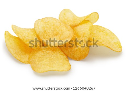Delicious potato chips, isolated on white background
