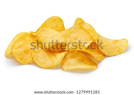 Delicious potato chips, isolated on white background Foto stock ©