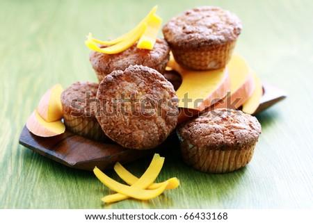 delicious pumpkin muffins with fresh pumpkin - sweet food