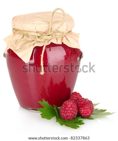 delicious  raspberry  jam in the pot isolated on white