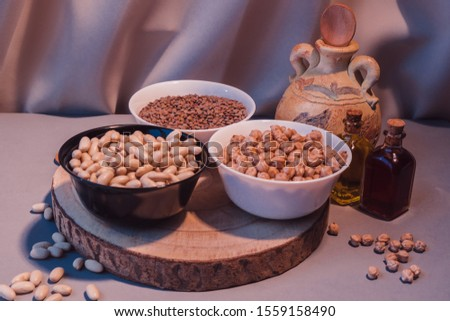 delicious raw legumes, chickpeas, lentils and beans