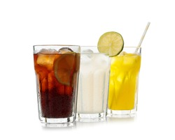 Delicious refreshing drinks in glasses on white background