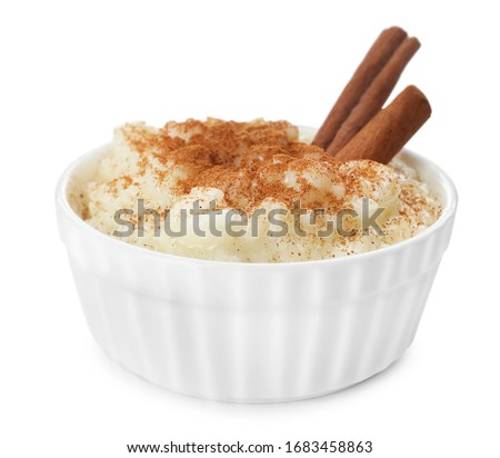 Delicious rice pudding with cinnamon isolated on white Сток-фото ©