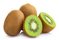 Delicious ripe kiwi fruits, isolated on white background