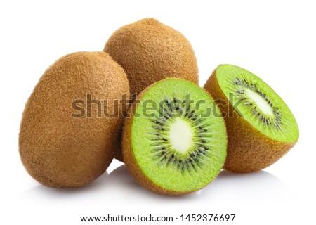 Delicious ripe kiwi fruits, isolated on white background Zdjęcia stock ©