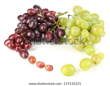 Delicious ripe pink and green grapes isolated on white