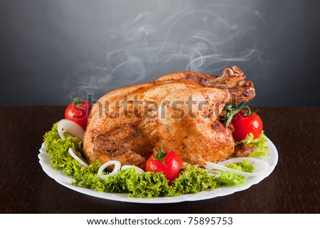 Delicious roast chicken with red tomatoes and green salad, studio shot