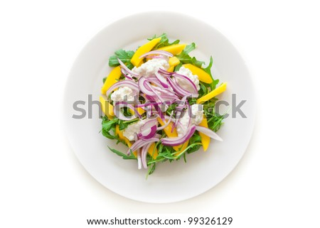 Delicious Rucola Salad on a plate isolated on white