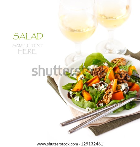 Delicious salad with blue cheese,  persimmon and wine.