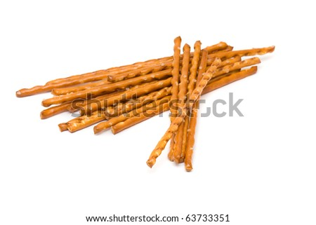 Delicious salted pretzel snack over white background