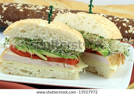 delicious sandwich made with organic  and perfect grilled turkey breast
