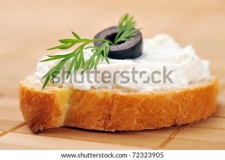 delicious sandwich of toasted bread and dill - stock photo
