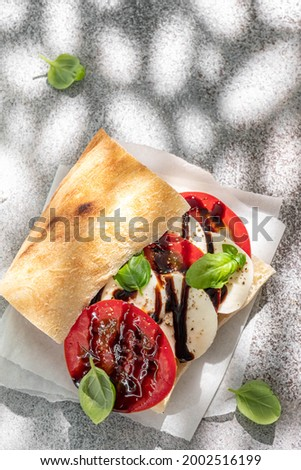 Delicious sandwich with caprese salad. Ripe tomatoes and mozzarella cheese with fresh basil leaves. Italian food. Stok fotoğraf ©
