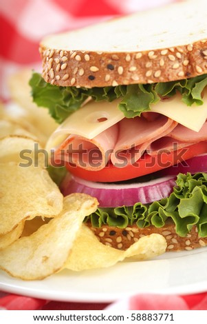 Delicious sandwich with ham, cheese, tomato, onion and lettuce, served with chips