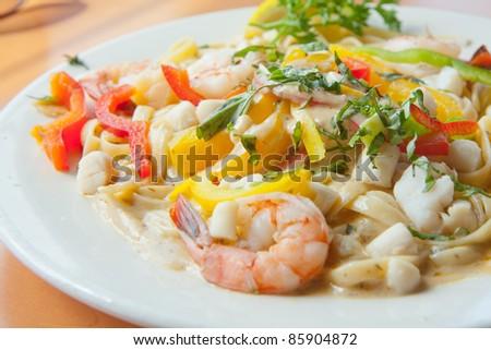 Delicious Seafood fettuccine pasta
