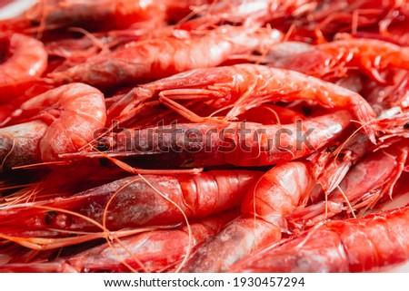 Delicious shrimp dish. Prawn dish. Species called red gamba or tiger Foto d'archivio ©