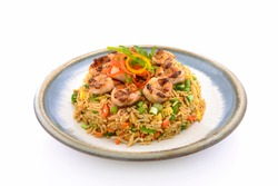 Delicious Shrimp Fried Rice Top View on white background