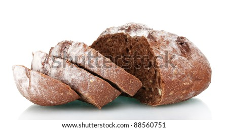 delicious sliced ??rye bread isolated on white