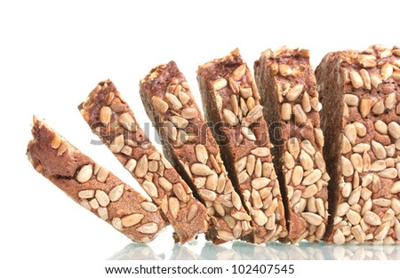 delicious sliced ??rye bread with sunflower seeds isolated on white