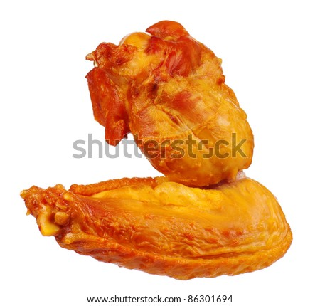 Delicious smoked chicken wings on a white background