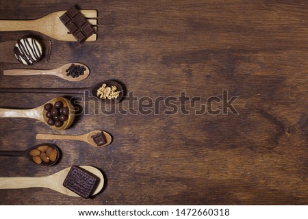 Delicious snack assortment on spoons #1472660318