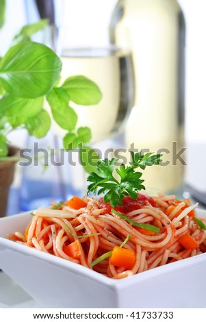 delicious spaghetti with tomato sauce, parmesan cheese and basil ...