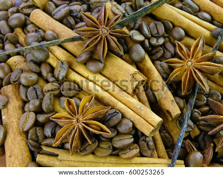 delicious spices background made of vanilla orchid beans, coffee, cinnamon bark and anise star pods
