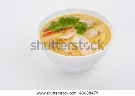 delicious spicy coconut cream soup with chicken