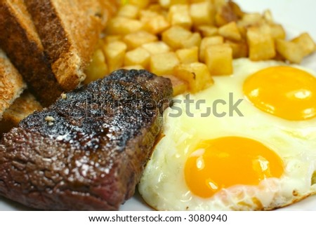 Delicious steak and eggs breakfast