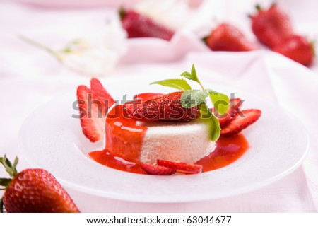 Delicious strawberry dessert with fresh peppermint