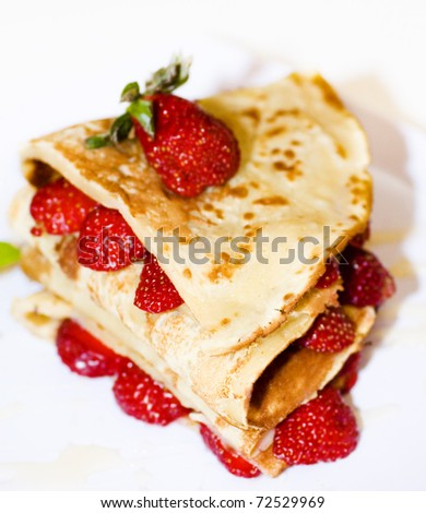 Delicious Strawberry pancake, ready to eat