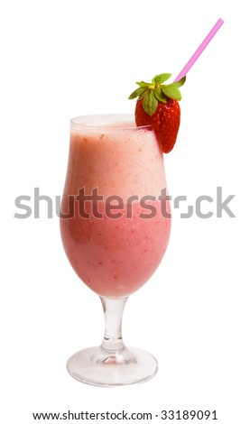 Delicious Strawberry Smoothie isolated over white background.