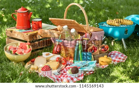 Delicious summer picnic food arrangement with basket, grill and coffee pot on green grass in partial shade