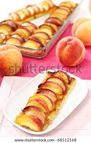 Delicious summer sweet peach pie