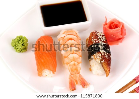 delicious sushi served on plate close-up