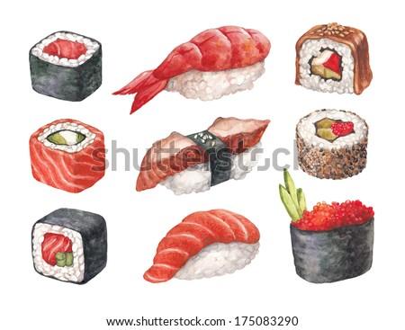 Delicious sushi. Watercolor illustrations