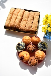 Delicious sweet biscuit, tasty chocolate muffin, blue berry jam muffin, junk food, white background, confectionery, bakery, homemade, sugary treats