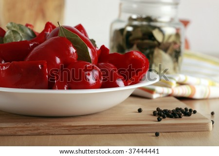 Delicious sweet red pepper pickles