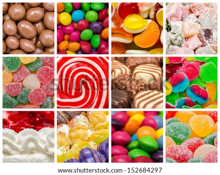 Delicious Sweets Background Collage With Candies, Cookies And Other Confectionery