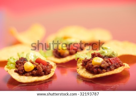 Delicious tex-mex tortillas with minced meat.