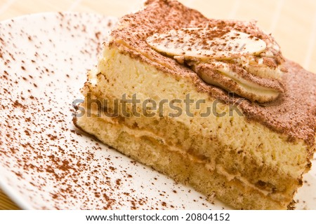 Delicious tiramisu with chocolate on a plate