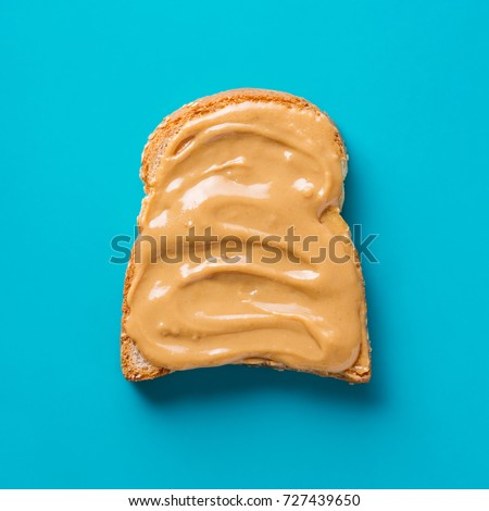 Delicious Toast with peanut butter, close up