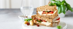 Delicious toast with white asparagus, tomatoes, mozzarella, sun-dried tomatoes and basil on white marble board. Healthy food concept with copy space.