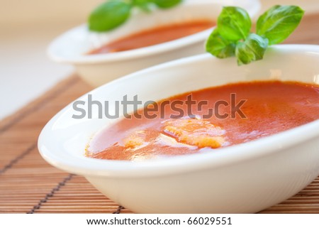 Delicious tomato soup with basil leaves and home made egg noodles. Shallow depth of field.