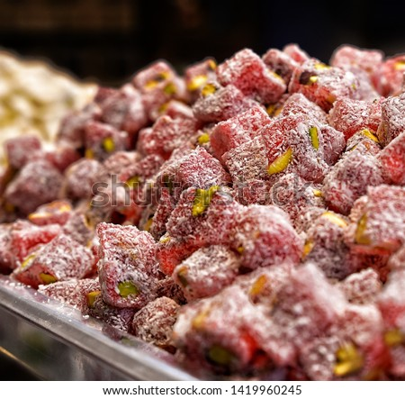 Delicious traditional turkish delight lokum with rose and pistachio  Stok fotoğraf ©