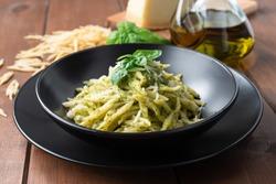 Delicious trofie pasta with pesto sauce, Italian Food