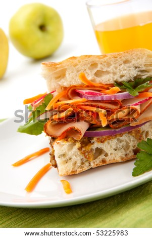 Delicious Turkey Breast Sandwich - rosemary ciabatta bread, turkey breast, whole grain mustard dressing, carrots, radish, red onion and parsley. - stock photo