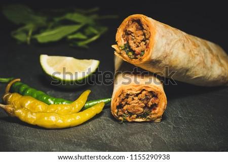 delicious turkish kebab tantuni