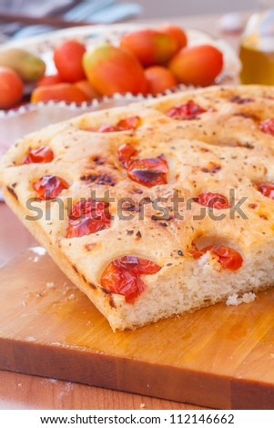 Delicious typical focaccia bread from south of italy - stock photo